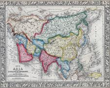 Antique map of Asia showing Political division - stock photo