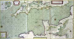 Antique map of the channel betrween England and Franc Kuvituskuvat