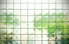 Abstract background made of glass with grating. - stock photo
