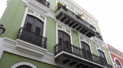 Old colonial era houses in Old San Juan Stock Footage