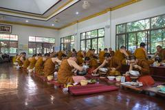 The buddhist monk have breakfast given by people who want to make great merit Stock Photos
