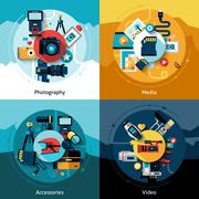 Camera Design Set Stock Illustration
