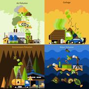 Pollution Design Set - stock illustration
