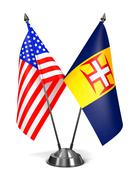 USA and Madeira - Miniature Flags Stock Illustration