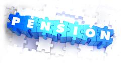 Pension - Text on Blue Puzzles - stock illustration