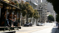 Cable car in the powell street in San Francisco Stock Footage