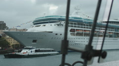 Rhapsody and Seas cruise liner docked in Sydney 4K Stock Footage