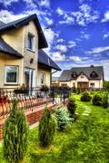 Suburban House with garden - stock photo