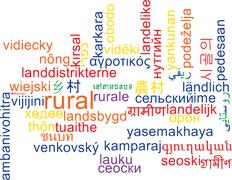 Rural multilanguage wordcloud background concept Stock Illustration