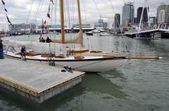 Classic sailing yachts moored in the Wynyard Quarter of Auckland's Viaduct Ha - stock photo