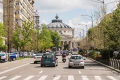 Rush Hour Traffic In Downtown Of Bucharest Stock Photos