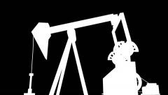 Pumpjack Oil production Alpha Channel Stock Footage