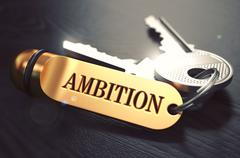 Keys with Word Ambition on Golden Label - stock illustration