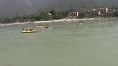 Rafting in Ganga River in Rishikesh 2 Stock Footage