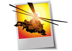 photo frame with helicopter - stock illustration