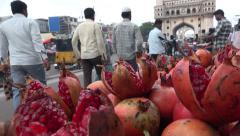 Roadside fruit stalls in central Hyderabad, India Stock Footage
