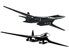 Stock Illustration of strategic bombers silhouettes set