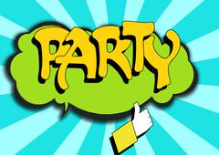 Pop Art comics icon with party word - stock illustration