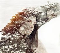 cute beautiful woman with pure skin and strong healthy bright hair - stock illustration