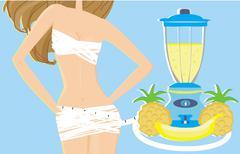 slimming cocktail - stock illustration