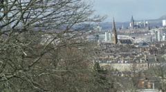 Wide angle tracking view of Glasgow city centre Stock Footage