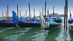 Amazing Venice Gondola parking and view to San Giorgio Maggiore, Italy. Stead Stock Footage