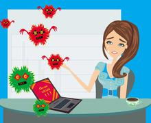 Computer virus attacking laptop in the office - stock illustration