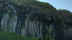 Svartifoss Waterfall Basalt Columns; Skaftafell, ICELAND Stock Footage
