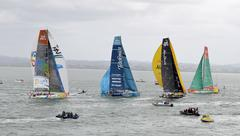 2012 Volvo Ocean Race contestants rounding the upper harbour buoy during the  Stock Photos