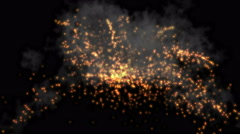 4k Abstract smoke flame firework background,holiday explosions particle backdrop Stock Footage