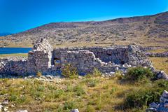 Island of Krk old stone ruins - stock photo