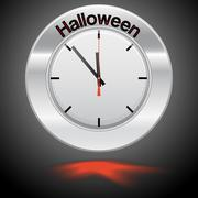 Vector  illustration of clock , red arrow specifies in a word Halloween - stock illustration
