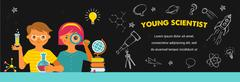Young scientist - education, research and school - stock illustration