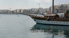 The sail yacht is in harbour, Sliema, Malta Stock Footage