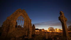 HD time laps video of Athenry Dominican Friary at sunset - stock footage