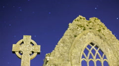 Friary with Celtic cross at5 night. Detail Stock Footage