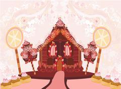 Stock Illustration of gingerbread house illustration