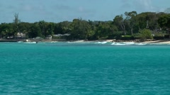 Barbados St. James 048 shore of Sandy Lane Bay seen from turquoise water Stock Footage