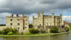 Medieval Leeds Castle in Kent England on River Len Stock Footage
