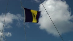 Barbados St. James 055 Barbados national flag in the rigging of a sailing boat Stock Footage