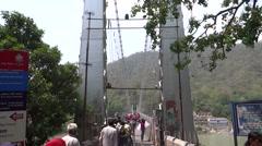 Ram Jhula across Ganga River in Rishikesh 5 Stock Footage
