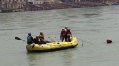 Rafting in Ganga River in Rishikesh 5 Stock Footage