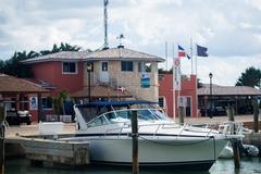 Speedboat on a pier - stock photo