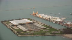 Aerial view of Navy Pier & Jardine Water Purification Plant. Stock Footage