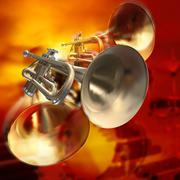 Abstract musical background piano drums and trumpet Stock Illustration