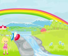 Girl playing nearby waterfall Stock Illustration
