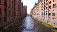 Hamburg -18 April: The quarter of Hamburg in Speicherstadt  18 April 201 Stock Footage