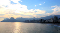 Backlot. Sunset at the arpoador. Ipanema Beach, Rio de Janeiro, Brazil. - stock footage