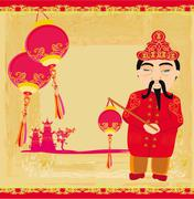 Mid-Autumn Festival for Chinese New Year ,Abstract card with celebrating man - stock illustration