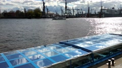 Harbor Landungsbrueken ,The ship on the water and sk Stock Footage